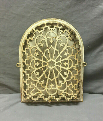 Antique 9x12 Fleur de Lis Arched Round Top Wall Heat Grate Grill Vtg 406-19L