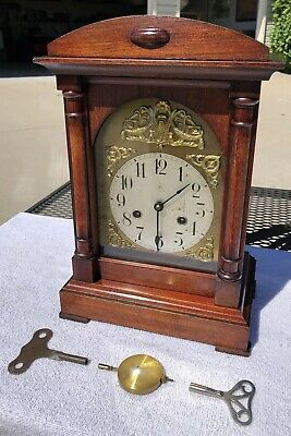 1914 Antique Junghans German Mantel Bracket Clock Working Correctly In Walnut