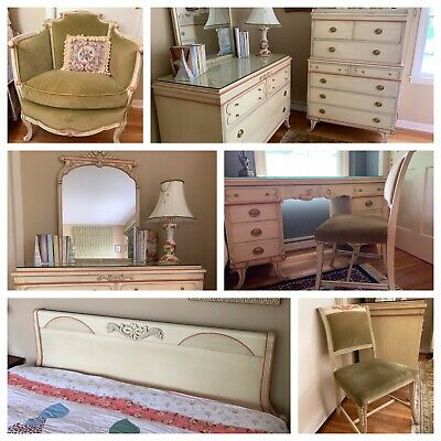 Beautiful French Country 8 Piece Bedroom Suite With Louis Bereger Chair (Pickup)