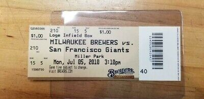 Milwaukee Brewers Ticket/Stub Vs Giants July 5,2010 Miller Park