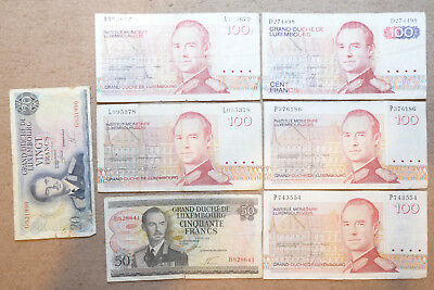 Luxembourg: 570 Francs in used banknotes. 5 x 100, 1 x 50, 1 x 20. LUF