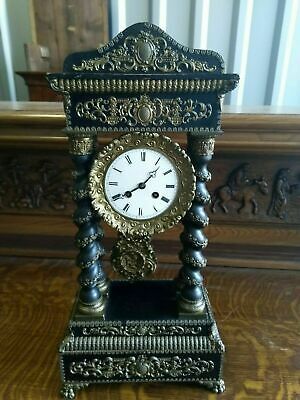 SERVICED & RUNNING 19th CENTURY FRENCH PORTIQUE CLOCK