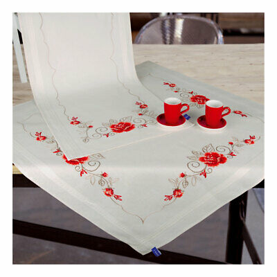 Embroidery Kit Tablecloth Elegant Roses Design Stitched on Cotton Fabric 80x80cm