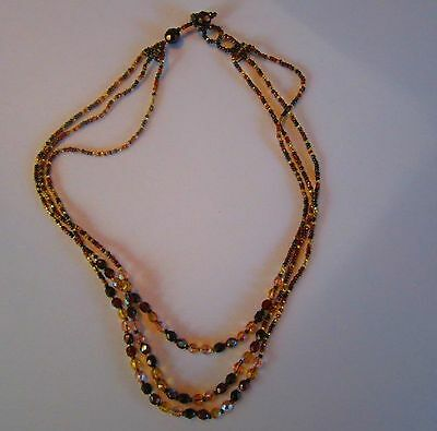 Brown beads Aurora Borealis stones brown handmade vintage necklace 1 of a kind