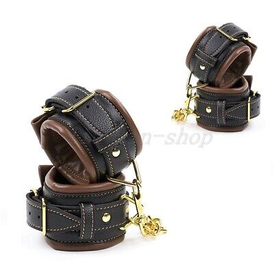 Black&Brown Soft Leather Adjustable Handcuffs Ankle Cuffs Harness Fun Lover Gift