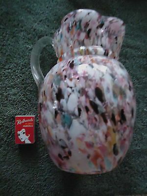 Antique end of day large glass jug / pitcher