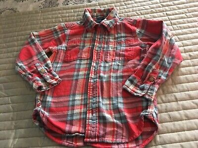 Baby Gap Boys Size 4T Gray & Red Long Sleeve Flannel Shirt Button Down