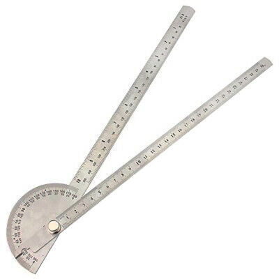 Stainless Steel Round Head Dual Arm 180° Protractor Angle Finder Rotary Ruler