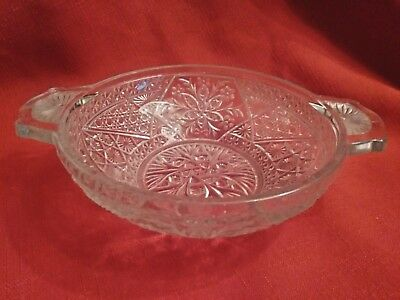 Vintage Clear Glass Patterned Two-handled Candy/Nut Dish