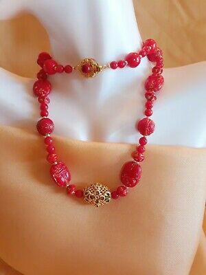 "Vintage Genuine Red Coral Antique Carved Scarabs Beads Champleve 18"" Necklace"