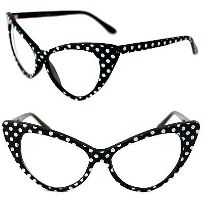 Women's Cat Eye Glasses Clear lens Nikita Large Black with White Polka Dots 50's