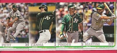 2019 Topps Series 2 Oakland A's Athletics Base Team Set, 10 cards, Chad Pinder