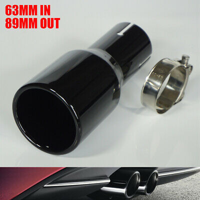 """2.5"""" Inlet 3.5"""" Outlet Car Exhaust Tip Tail Pipe Muffler Black Stainless Steel"""