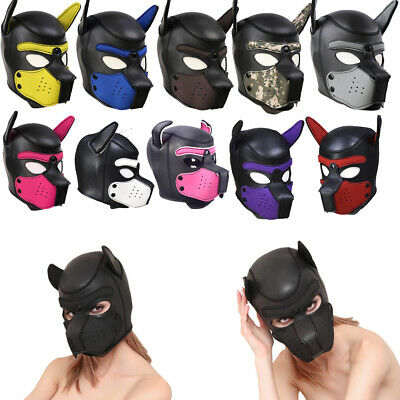Sexy Adult Cosplay Role Play Dog Full Head Masks Soft Padded Latex Rubber Puppy