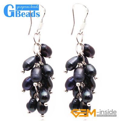 Assorted Colors 5-6mm x 7-8mm Freshwater Pearl Dangle Earrings Free Shipping