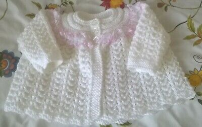 Beautiful White Hand Knitted Matinee Coat/Cardigan 0 - 3 Months Pink/White Lace