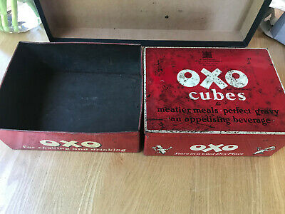 Vintage Red Oxo Cube Tin With Lid And A Base - Discolouration - Nail Screw Box