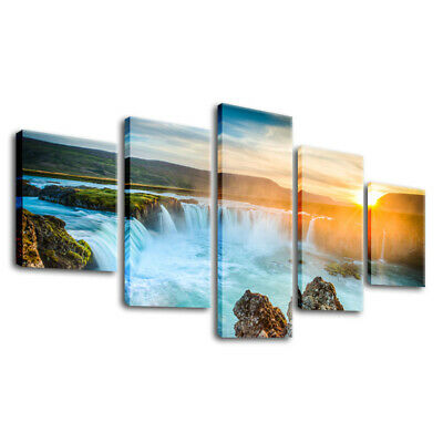 Framed Landscape Wall Art Sunset Mountain Lake Picture Waterfall Canvas Painting