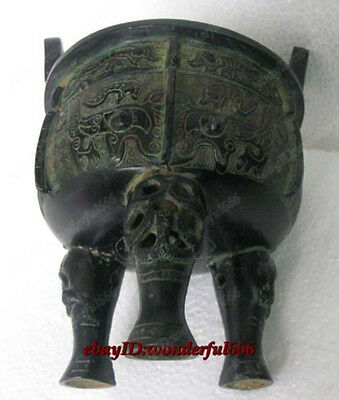 China Folk Antique Collection Classic Bronze statue Gilt dragon incense censer