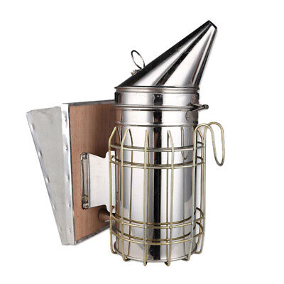 Bee Hive Manual Smoker Stainless Steel with Heat Shield Beekeeping Equipment