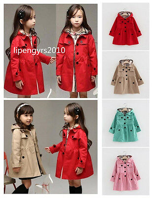 Toddler Kids Baby Girls Trench Coat Winter Jacket Windbreaker Outerwear Clothes
