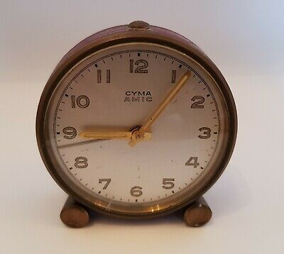 Gorgeous VINTAGE Antique CYMA SWISS Travel ALARM CLOCK 1950s fully working