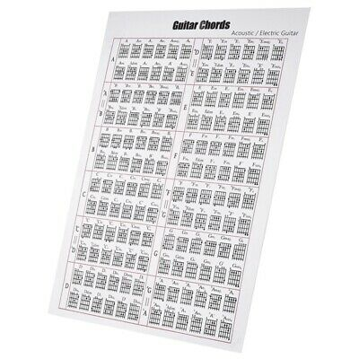 Acoustic / Electric Guitar Chord & Scale Chart Poster Tool Lessons Music Le X2F5