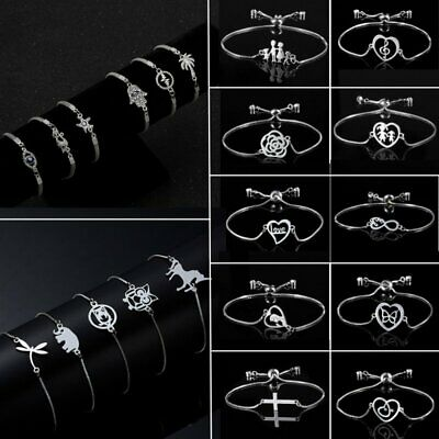 Hot Silver Womens Owl Horse Cat Heart Chain Bracelet Bangle Jewellery Party Gift