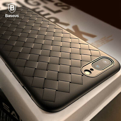 Baseus For iPhone X (10)/ 8/7/6S Plus Luxury Ultra Thin Grid Silicone Case Cover