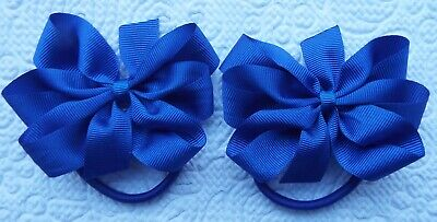 "2 Royal Blue 3"" Bows Girls School Uniform Grosgrain Ribbon Hair Bobbles"