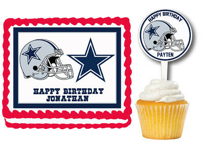 Brilliant 3 Dallas Cowboys Edible Birthday Cake Topper Cupcake Topper Cake Funny Birthday Cards Online Sheoxdamsfinfo