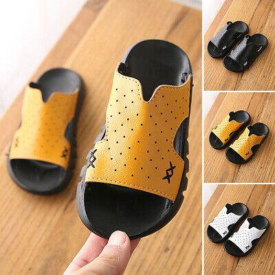 Slide Boys Shoes Kids Soft sole Open toe Outdoor Home Indoor Toddlers Slipper
