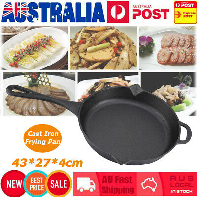 27CM Round Cast Iron Frying Pan Skillet Griddle Cooking Camping for BBQ Black