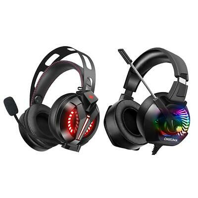 ONIKUMA K6 Wired Gaming Headset Stereo Headphones with Mic LED for PC PS4 #gib