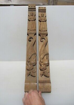 "Vintage Carved Wooden Panels Plaque Wood Strip Antique Furniture Mounts Old 26""H"