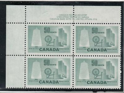 CANADA (MK1460) # 334  VF-3MNH/1H  50cts TEXTILE INDUSTRY / PL#2 BLOCK  CAT $36