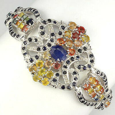 203.35Ct.genuine.precious Natural Top Fancy Colors Sapphire Silver Bracelet