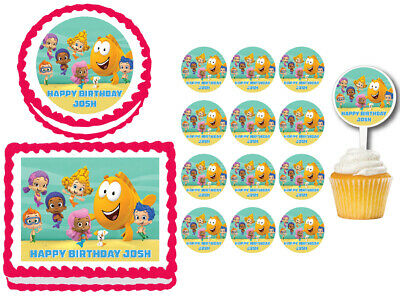 Magnificent Kitchen Dining Bar Bubble Guppies A4 Edible Icing Birthday Cake Personalised Birthday Cards Veneteletsinfo