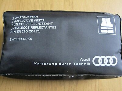 Genuine Audi HI Viz Reflective Yellow Vests X2 & Pouch  A4 S3 TT Q7 A6