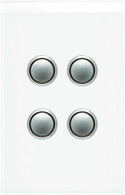 Clipsal Saturn 4 Gang Switch with LED Pure White   4064PBL-PW