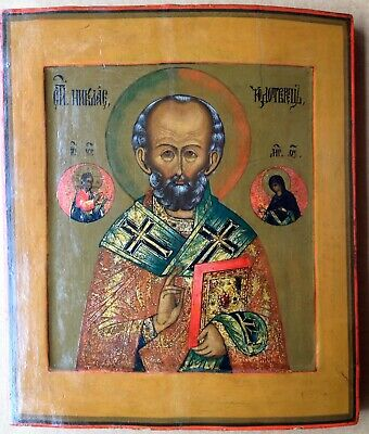 ANTIQUE RUSSIAN ICON SAINT NICHOLAS ORTHODOX CHRISTIAN ICONS 19th CENTURY