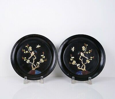 A Pair of Inlaid Lacquer Plates