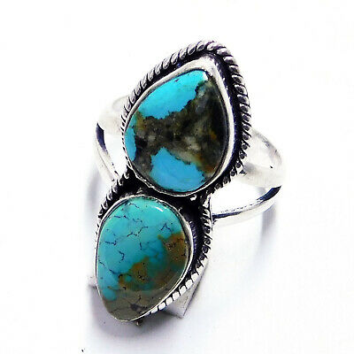 Tibetan Turquoise 925 Sterling Silver Plated Jewellery Ring UK Size-O 1/2
