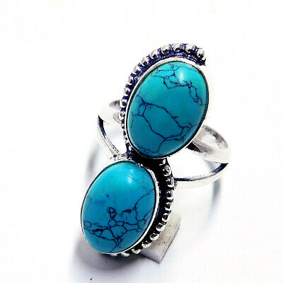 Tibetan Turquoise 925 Sterling Silver Plated Handmade Jewellery Ring UK Size-Q
