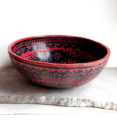 Vintage Handmade Peruvian Carved Gourd Bowl Extra Large Red, Black Animals