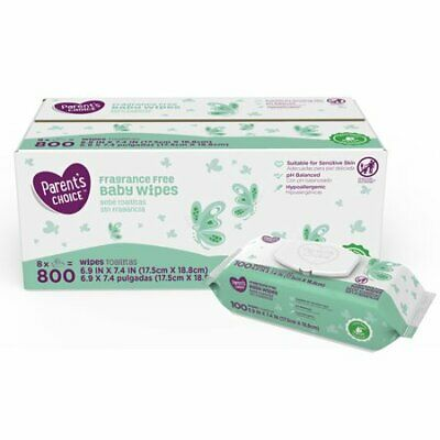 Parent's Choice Fragrance Free Baby Wipes, 8 packs of 100 (800 count