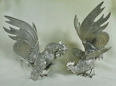 Vintage Pair Of Large Size White Metal Fighting Cockerels - Good Condition
