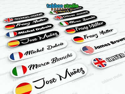 4 adesivi nome e bandiera stickers per casco bike MTB personalized frame decals