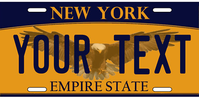 """New York License Plate Personalized """"Any Text"""" WITH BALD EAGLE Auto Tag Sign"""