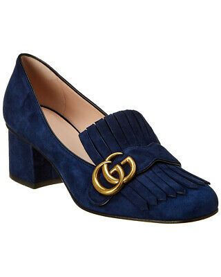 2cbe00271 NEW GUCCI WOMENS Marmont Gold shoes Mid-Heel Pumps Galassia Platino ...
